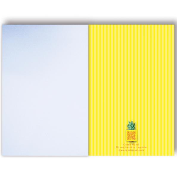 cassis-royal-carnet-ananas-pineapple-perroquet-parrot-rayure-jaune-exotisme-boutique-laguiole-couverture-interieure