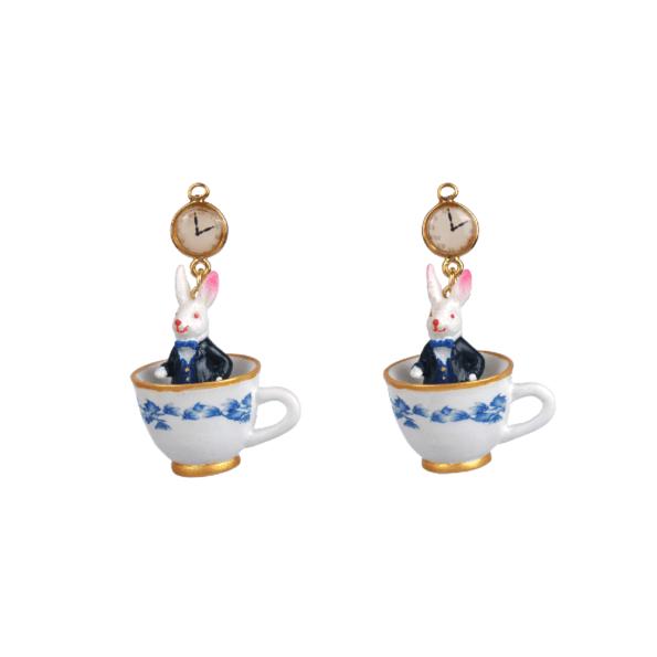 Bijoux N2 le tea time d'Alice boucles d'oreilles Rabbit, Clock and Cup - cassisroyal.com