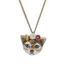 collier porcelaine and mary necklace petite tete de chat aux fleurs - cassisroyal.com