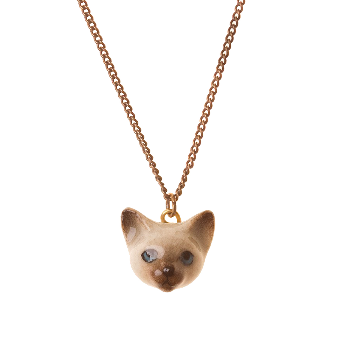 collier porcelaine and mary necklace petite tete de chaton siamois - cassisroyal.com