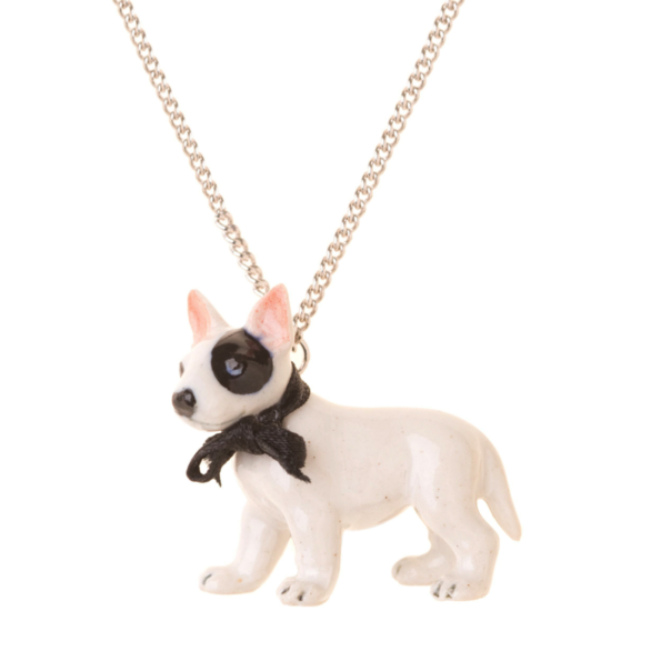 collier porcelaine and mary necklace chien bull terrier - cassisroyal.com
