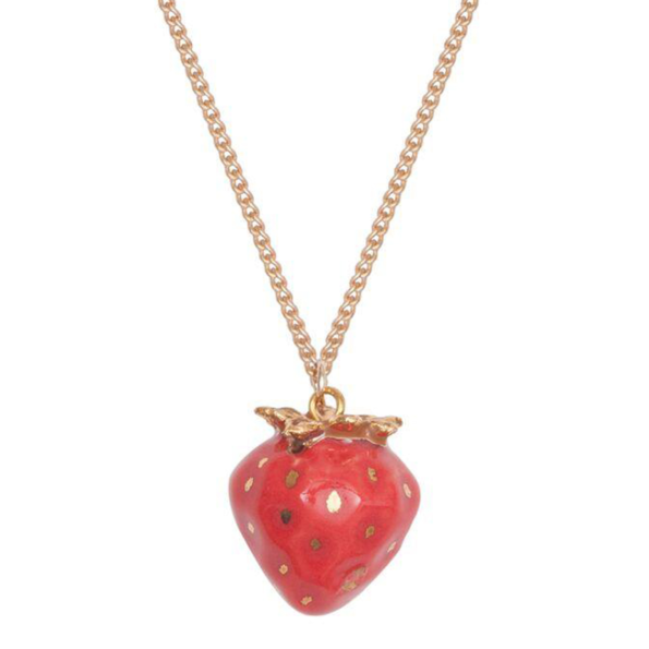 collier porcelaine and mary necklace fraise - cassisroyal.com