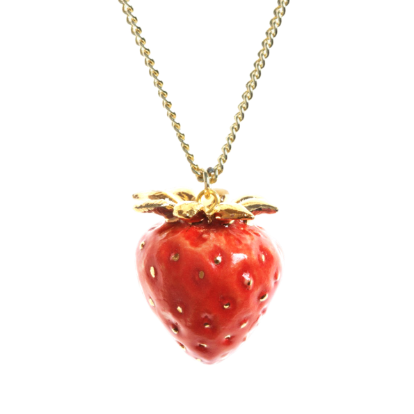 collier porcelaine and mary necklace fraise fruit rouge - cassisroyal.com