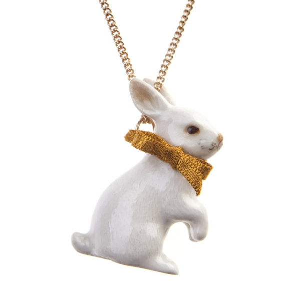 collier porcelaine and mary necklace lapin blanc - cassisroyal.com