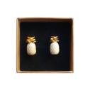 boucles d'oreilles porcelaine and mary ananas beige earrings orecchini pendientes ohrringe - cassisroyal.com