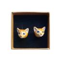boucles d'oreilles porcelaine and mary chat roux earrings orecchini pendientes ohrringe - cassisroyal.com