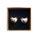 boucles d'oreilles porcelaine and mary chat siamois earrings orecchini pendientes ohrringe - cassisroyal.com