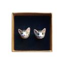 boucles d'oreilles porcelaine and mary chat tigré earrings orecchini pendientes ohrringe - cassisroyal.com
