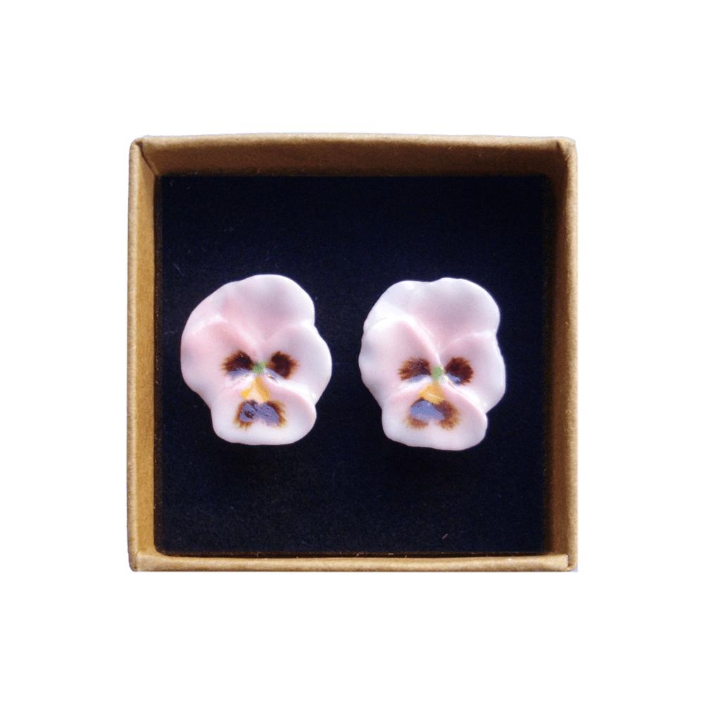 boucles d'oreilles porcelaine and mary pensée rose earrings orecchini pendientes ohrringe - cassisroyal.com