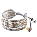 Mishky mélange bracelet medium en perles multicolores blanc or - cassisroyal.com