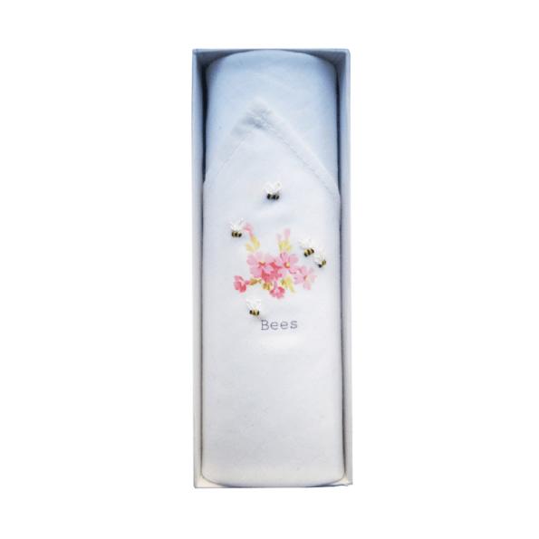 Mouchoir Tamielle abeilles et fleurs roses handkerchief - cassisroyal.com