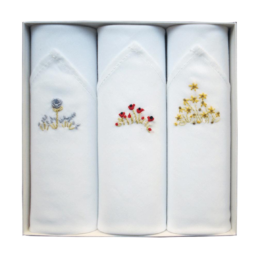 Coffret de 3 mouchoirs Tamielle fleurs handkerchief - cassisroyal.com