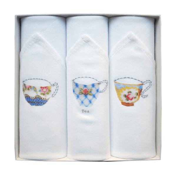 Coffret de 3 mouchoirs Tamielle tasses - cassisroyal.com