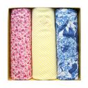 Coffret de 3 mouchoirs Tamielle homme rose jaune & fleurs handkerchief - cassisroyal.com