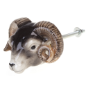 Poignée de placard en porcelaine and mary bélier doorknob sheep head - cassisroyal.com