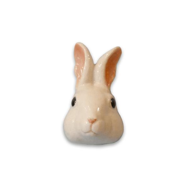 And Mary, Poignée de placard en porcelaine lapin blanc