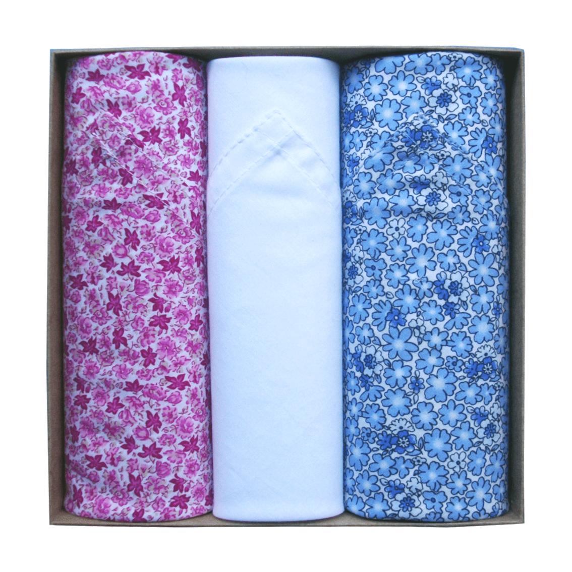 Coffret de 3 mouchoirs Tamielle floral handkerchief - cassisroyal.com