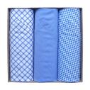 Coffret de 3 mouchoirs Tamielle homme mouchoirs Tamielle bleus handkerchief - cassisroyal.com