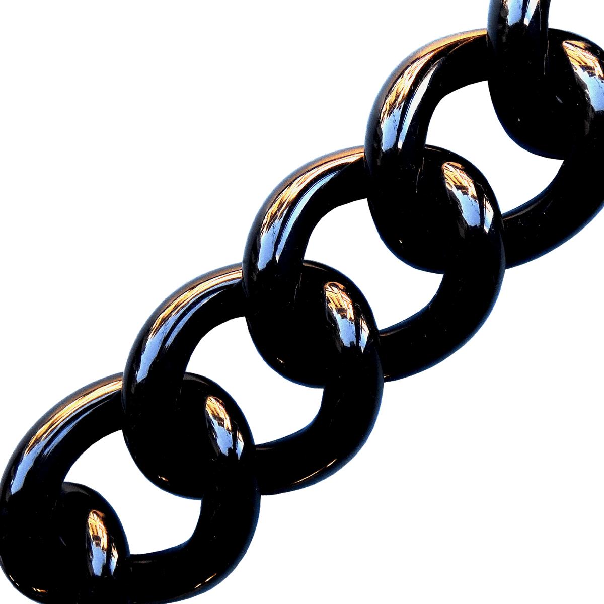 kalaika chunky chaîne bracelet maille acrylique réglisse - cassisroyal.com