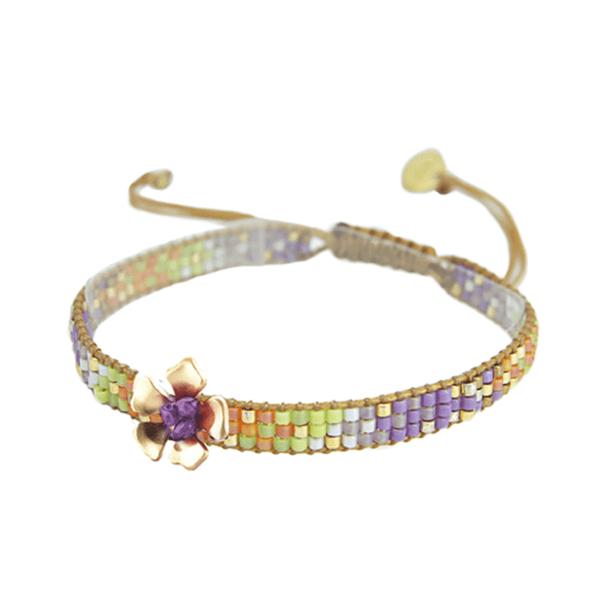 mishky bracelet fleur perles multicolores track flower or - cassisroyal.com vert violet or - cassisroyal.comange