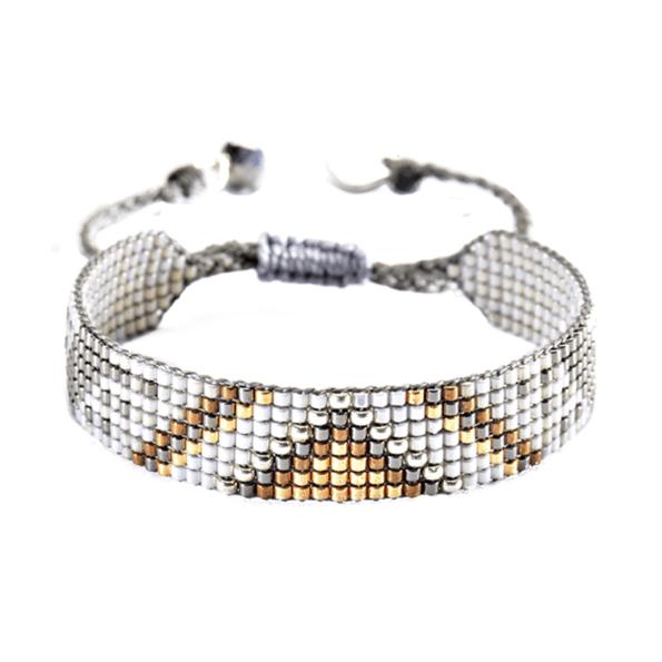 mishky bracelet perles multicolores track argent blanc or - cassisroyal.com