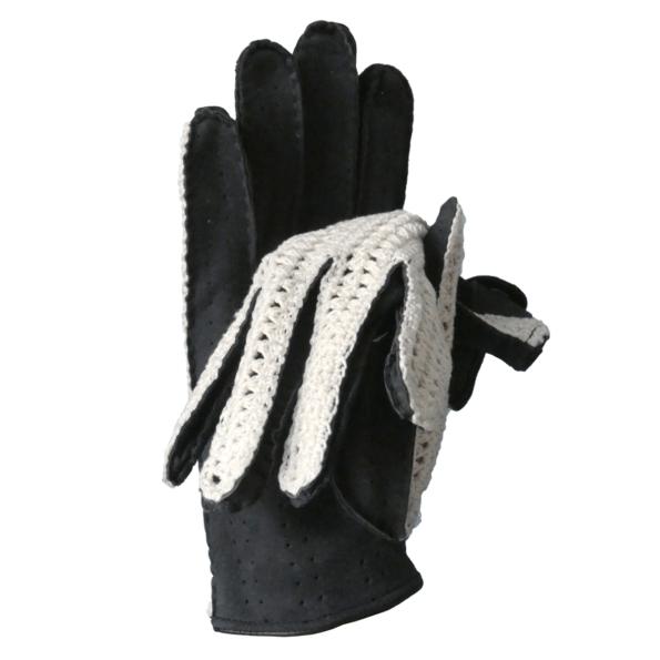 Gants de conduite en agneau marine et crochet de coton - cassisroyal.com