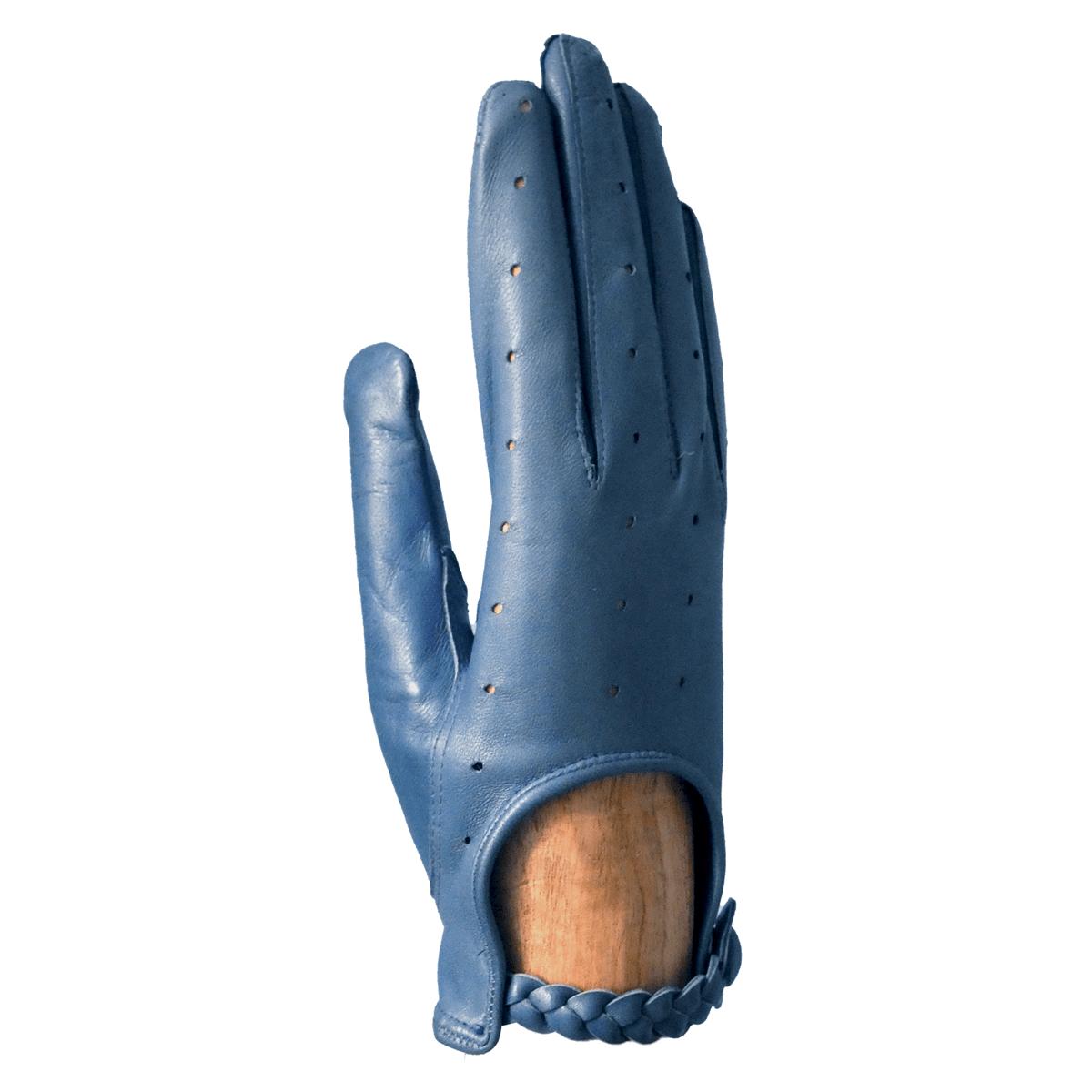 Gants de conduite fantaisie bleu pour femme agneau non-doublé patte de boutonnage tressée - cassisroyal.com