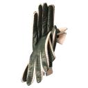 Gants pour femme en cuir d'agneau vert picoté bordé de crochet en coton - cassisroyal.com
