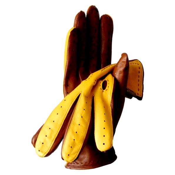 Gants de conduite fantaisie bicolore pour homme en cuir d'agneau marron et jaune