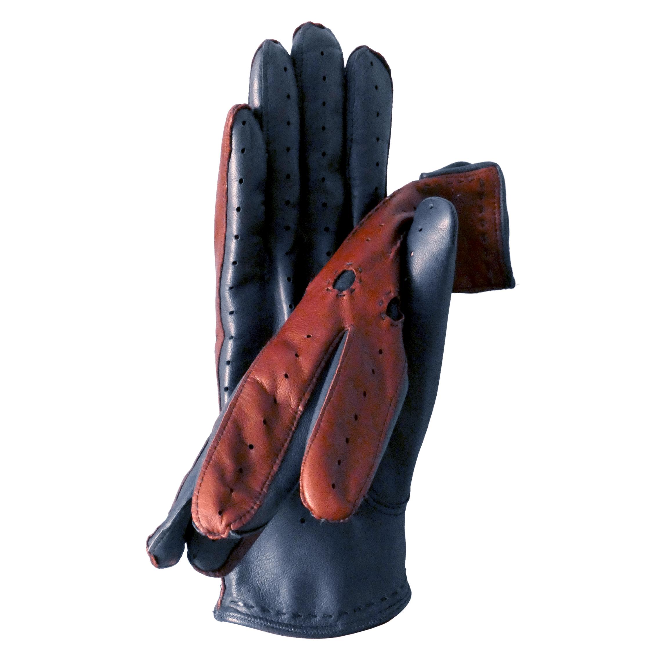 Gants de conduite fantaisie bicolore pour homme en cuir d'agneau marron et marine