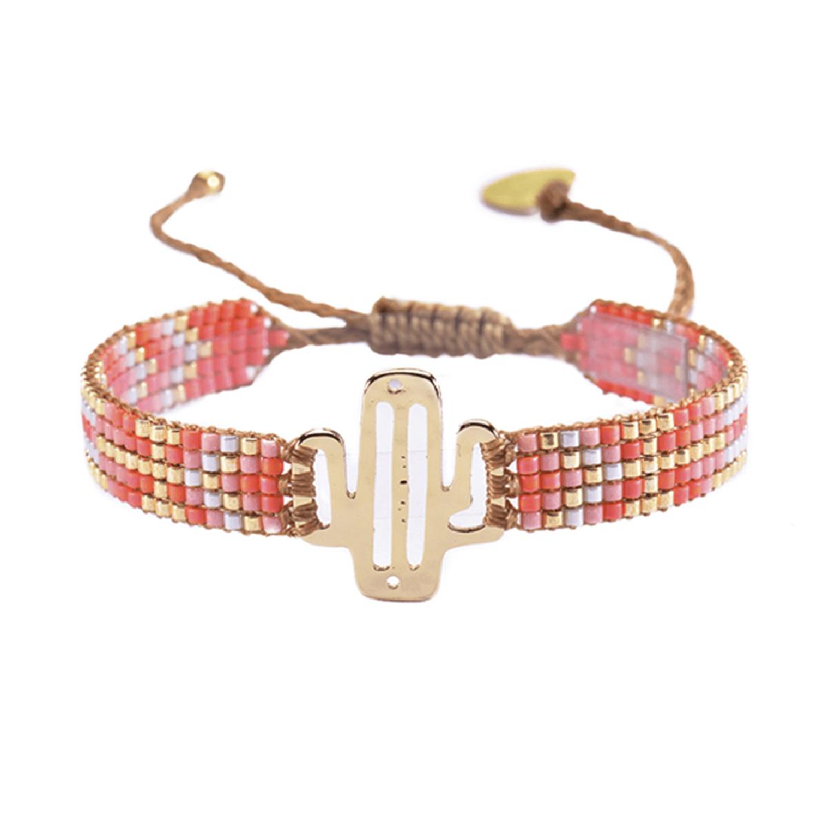 MISHKY, Bracelet Mini Cactus en perles multicolores corail, rose & or - cassisroyal.com