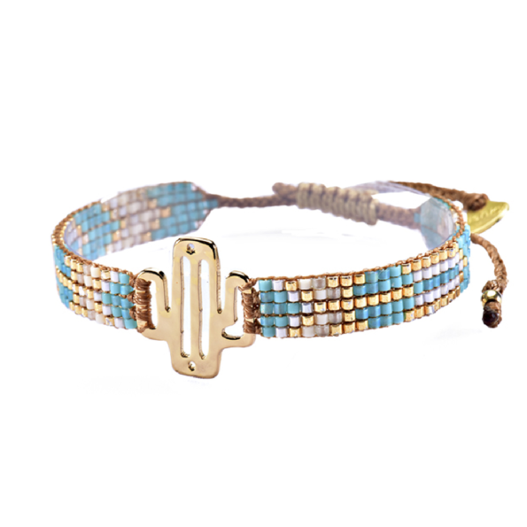 MISHKY, Bracelet Mini Cactus en perles multicolores turquoise & or - cassisroyal.com