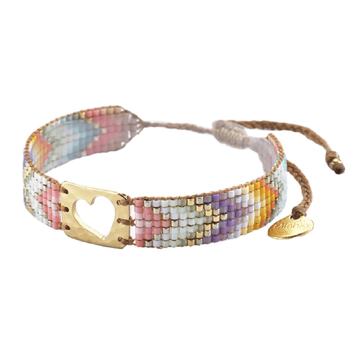 MISHKY, Bracelet Mini Heart en perles multicolores or, violet, orange & blanc - cassisroyal.com