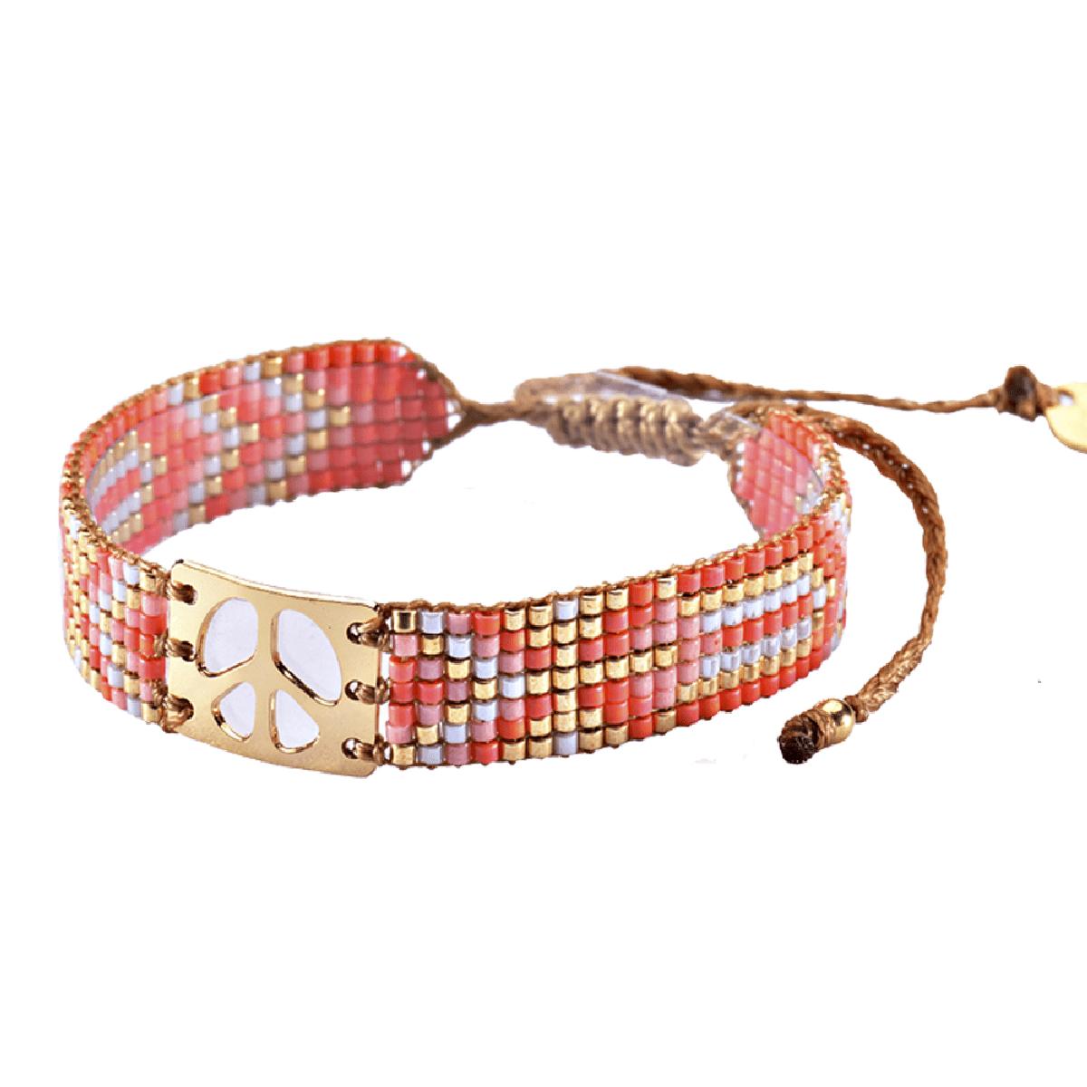 MISHKY, Bracelet Mini Peace en perles multicolores corail, rose & or - cassisroyal.com