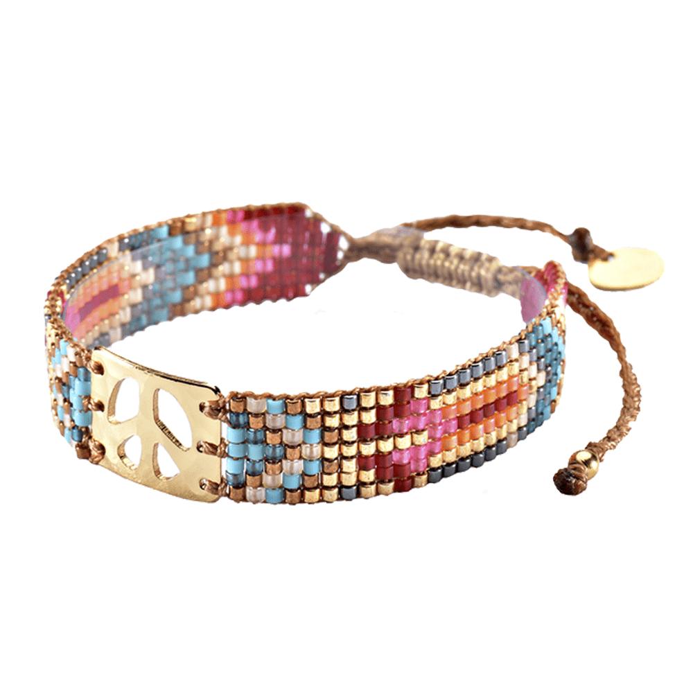 MISHKY, Bracelet Mini Peace en perles multicolores rouge, or & bleu - cassisroyal.com