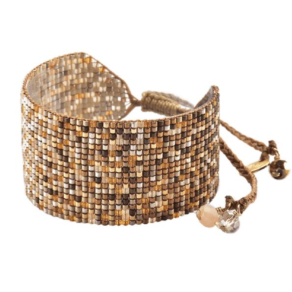 MISHKY, Bracelet Rays ombre médium en perles multicolores cuivre, beige & orange - cassisroyal.com