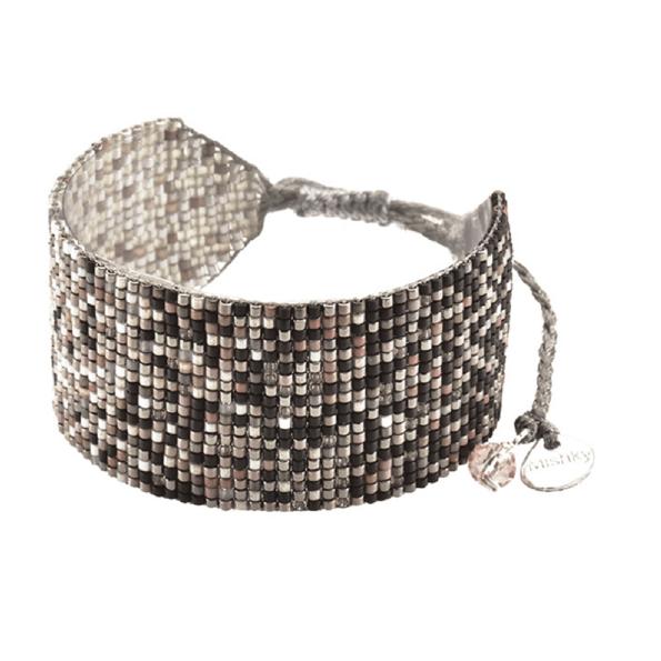 MISHKY, Bracelet Rays ombre médium en perles multicolores bronze, blanc & cuivre - cassisroyal.com