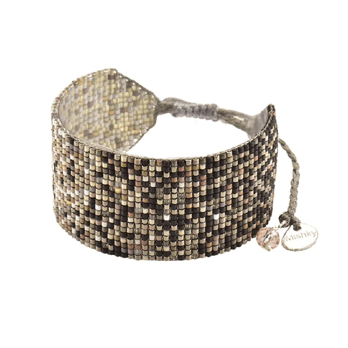 MISHKY, Bracelet Rays ombre médium en perles multicolores noir, cuivre & beige - cassisroyal.com