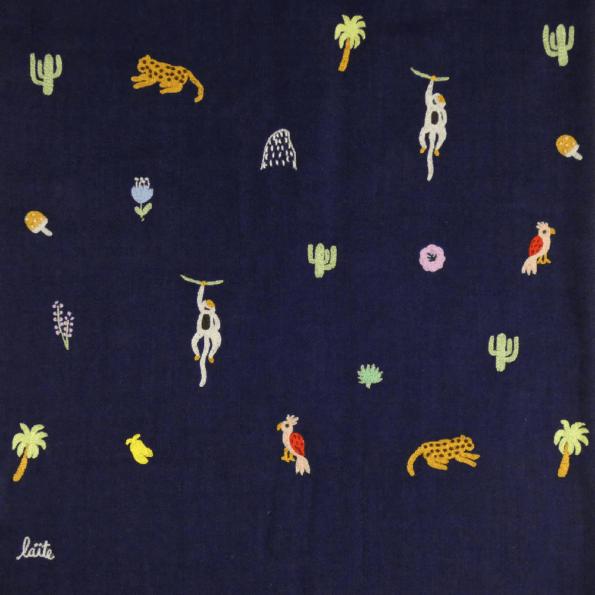 Laïté Works, Tropical Jungle coloris marine Pashmina brodé main
