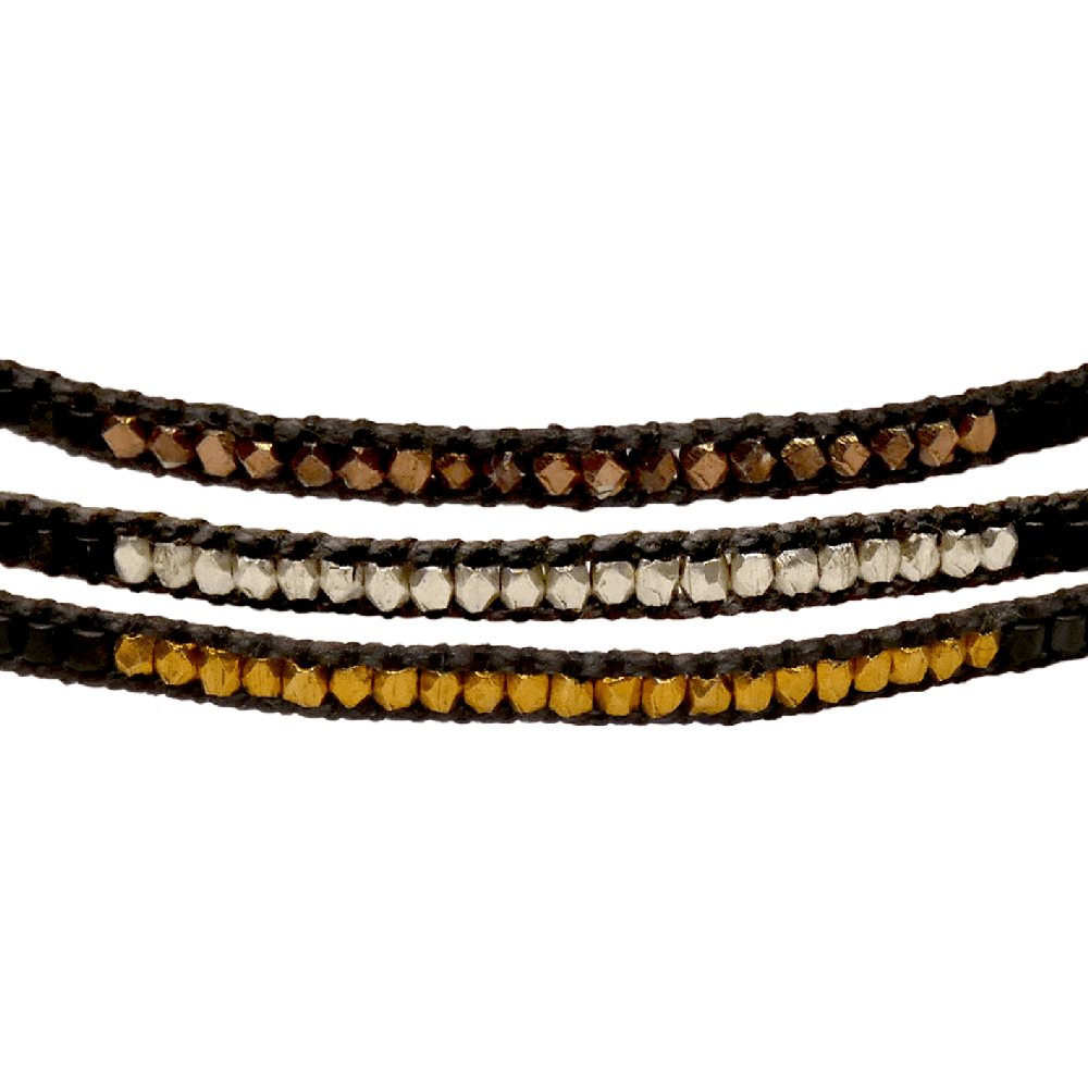 LEJU, Trio de bracelets en perles Faceted anthracite - cassisroyal.com