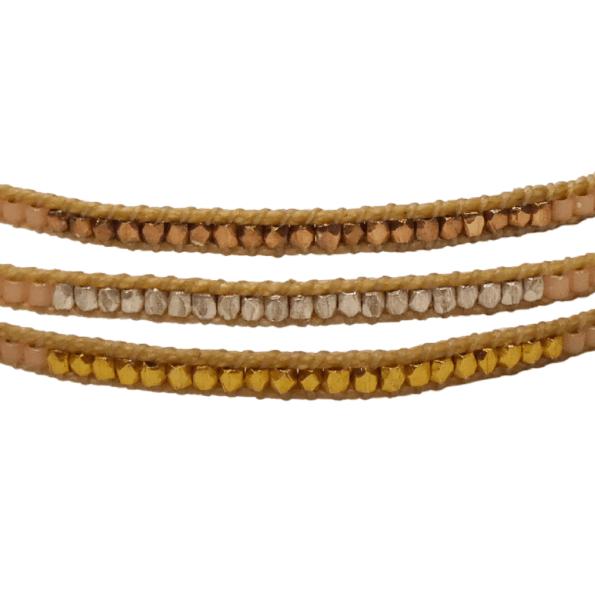 LEJU, Trio de bracelets en perles Faceted rose - cassisroyal.com