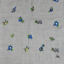 Laïté Works, Fleurissime coloris blue Pashmina brodé main