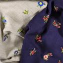 Laïté Works, Fleurissime coloris navy Pashmina brodé main