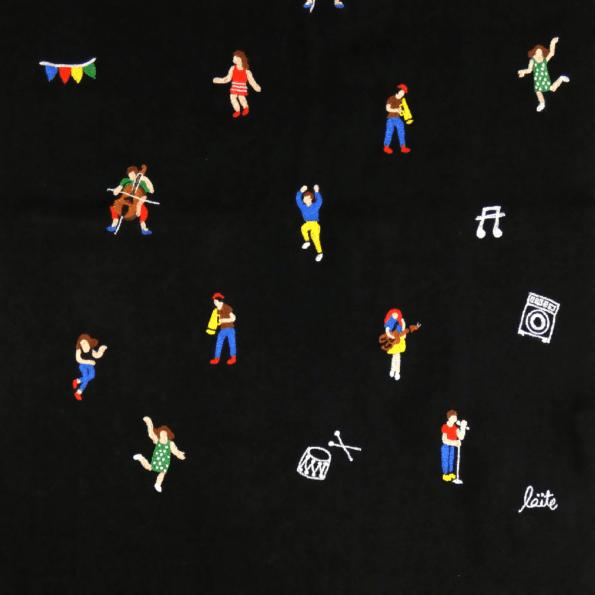 Laïté Works, La fête coloris black Pashmina brodé main