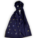 Laïté Works, La nuit coloris navy Pashmina brodé main