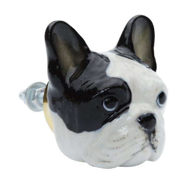 And Mary, Poignée de placard en porcelaine Bouledogue - cassisroyal.com