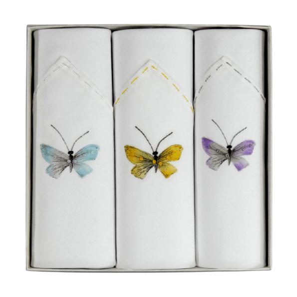 Tamielle, Coffret de 3 Mouchoirs Butterflies - cassisroyal.com