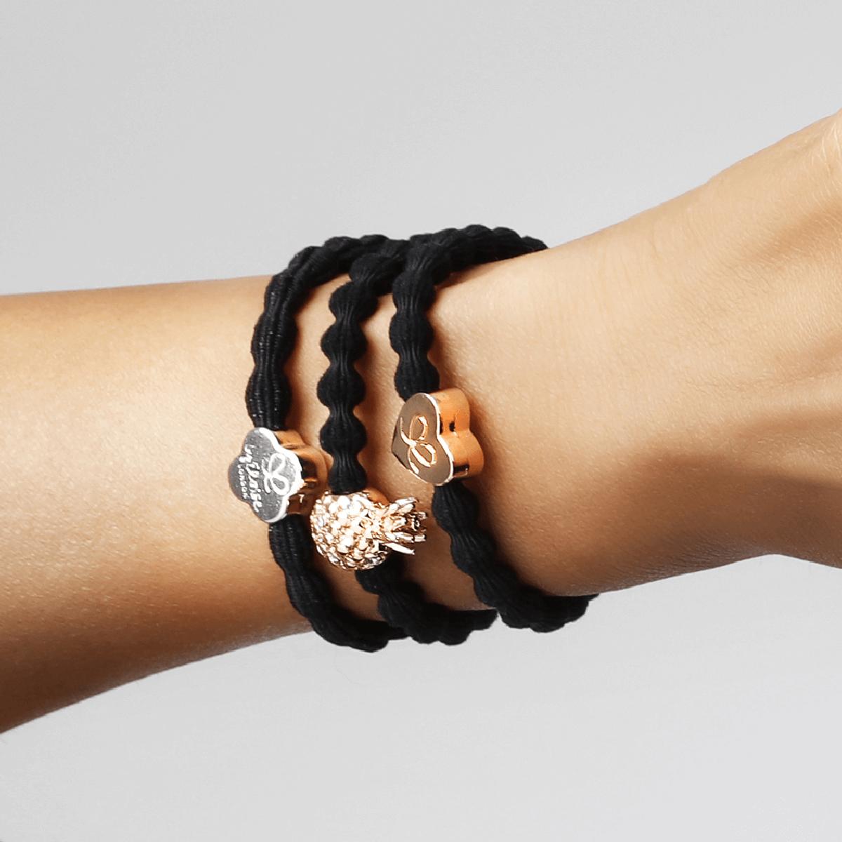 bracelet elastique cheveux byEloise ananas noir. Previous; Next