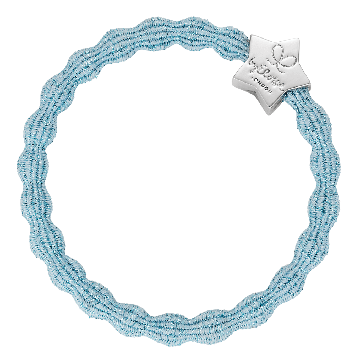 bracelet elastique cheveux byEloise star metallic bleu ciel