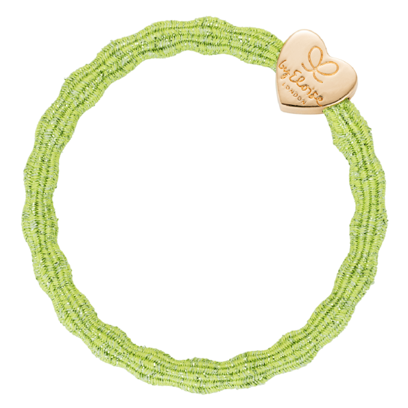 bracelet elastique cheveux byEloise coeur metallic vert pomme